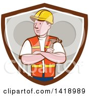 Clipart Of A Retro Cartoon Construction Worker Holding A Hammer In Folded Arms In A Shield Royalty Free Vector Illustration