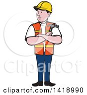 Retro Cartoon Construction Worker Holding A Hammer In Folded Arms