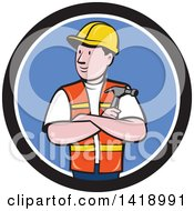 Retro Cartoon Construction Worker Holding A Hammer In Folded Arms In A Black White And Blue Circle