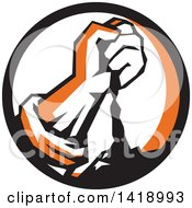 Clipart Of A Retro Clenched Fist Pouring Dirt In A Black Orange And White Circle Royalty Free Vector Illustration