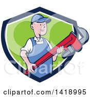 Clipart Of A Retro Cartoon White Male Plumber Or Handy Man Holding A Giant Monkey Wrench Emerging From A Blue White And Green Shield Royalty Free Vector Illustration