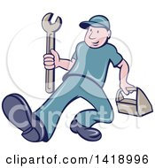 Clipart Of A Retro Cartoon White Handy Man Or Mechanic Walking With A Spanner Wrench And Tool Box Royalty Free Vector Illustration