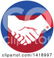 Clipart Of A White Hands Shaking In A Red And Blue Circle Royalty Free Vector Illustration