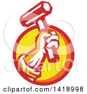 Clipart Of A Retro Union Worker Hand Holding Up A Hammer Or Mallet In A Red Orange And Yellow Circle Royalty Free Vector Illustration by patrimonio