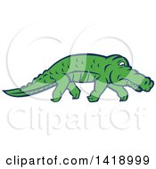 Clipart Of A Sneaky Alligator Tip Toeing Royalty Free Vector Illustration by patrimonio