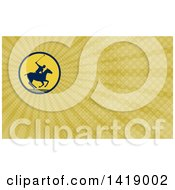 Silhouetted Polo Player On Horseback Swinging A Mallet And Rays Background Or Business Card Design