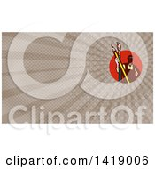 Clipart Of A Retro Male Artist Holding A Giant Pencil And Paintbrush And Brown Rays Background Or Business Card Design Royalty Free Illustration