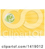 Greek Goddess Demeter Holding Grains In A Circle And Yellow Rays Background Or Business Card Design