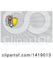 Clipart Of A Retro Knight In Full Armor Holding Sword And Shield And Gray Rays Background Or Business Card Design Royalty Free Illustration