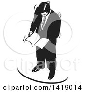 Clipart Of A Black And White Business Man Reading Documents Royalty Free Vector Illustration by David Rey