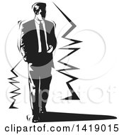 Clipart Of A Black And White Business Man Walking Royalty Free Vector Illustration