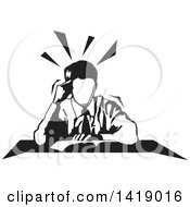 Clipart Of A Black And White Business Man Reading At A Desk Royalty Free Vector Illustration