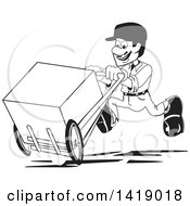 Clipart Of A Black And White Delivery Man Running With A Box On A Dolly Royalty Free Vector Illustration