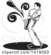 Clipart Of A Black And White Male Musician Playing A Saxophone Royalty Free Vector Illustration