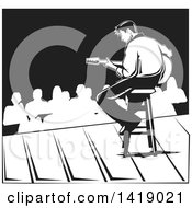 Clipart Of A Black And White Male Musician Playing A Guitar On Stage Royalty Free Vector Illustration