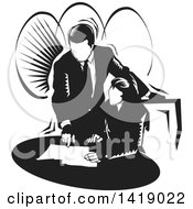 Clipart Of A Black And White Professional Business Woman And Man Going Over Documents Royalty Free Vector Illustration