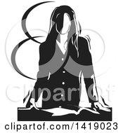 Clipart Of A Black And White Professional Business Woman Resting Her Hands On Her Desk Over A Book Royalty Free Vector Illustration