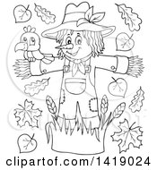 Clipart Of A Black And White Lineart Crow Bird On A Scarecrow With Leaves Royalty Free Vector Illustration by visekart