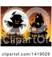 Clipart Of A Silhouetted Scarecrow With A Jackolantern Head Over Pumpkins Near A Haunted House Royalty Free Vector Illustration by visekart