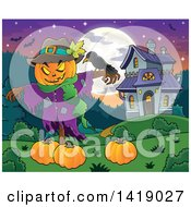 Clipart Of A Scarecrow With A Jackolantern Head Over Pumpkins Near A Haunted House Royalty Free Vector Illustration by visekart