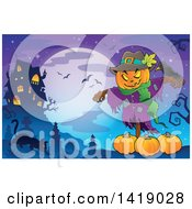 Clipart Of A Scarecrow With A Jackolantern Head Over Pumpkins Near A Haunted House With A Cat In A Cemetery Royalty Free Vector Illustration by visekart