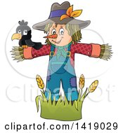 Clipart Of A Crow Bird On A Scarecrow Royalty Free Vector Illustration by visekart