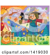 Clipart Of A Crow Bird On A Scarecrow Under Autumn Trees In A Yard Royalty Free Vector Illustration by visekart