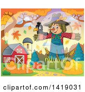 Clipart Of A Crow Bird On A Scarecrow In An Autumn Barnyard Royalty Free Vector Illustration by visekart