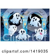 Clipart Of A Group Of Ghosts In A Hallway Royalty Free Vector Illustration