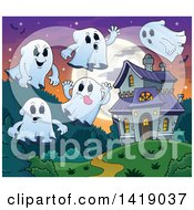 Clipart Of A Group Of Ghosts Around A Haunted Mansion Royalty Free Vector Illustration