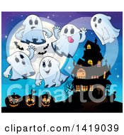 Clipart Of A Full Moon With Bats Ghosts And Jackolanterns Near A Haunted House Royalty Free Vector Illustration