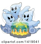 Clipart Of A Group Of Ghosts Around A Boiling Cauldron Royalty Free Vector Illustration