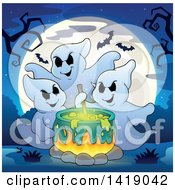 Clipart Of A Group Of Ghosts Around A Boiling Cauldron Against A Full Moon Royalty Free Vector Illustration by visekart