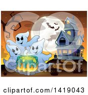 Clipart Of A Group Of Ghosts Around A Boiling Cauldron Near A Haunted House Royalty Free Vector Illustration