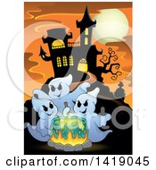 Clipart Of A Group Of Ghosts Around A Boiling Cauldron Near A Haunted House Royalty Free Vector Illustration by visekart