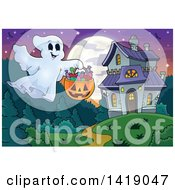Clipart Of A Ghost Trick Or Treating Near A Haunted Mansion Royalty Free Vector Illustration