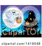 Clipart Of A Ghost Trick Or Treating Near A Haunted House Over Jackolanterns And A Full Moon Royalty Free Vector Illustration