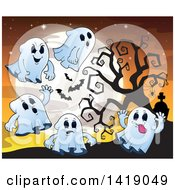 Clipart Of A Group Of Ghosts By A Bare Tree Against A Full Moon Royalty Free Vector Illustration by visekart