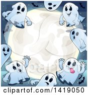 Clipart Of A Group Of Ghosts Around A Full Moon With Bats Royalty Free Vector Illustration by visekart