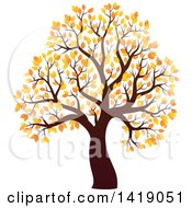 Clipart Of A Tree With Autumn Foliage Royalty Free Vector Illustration