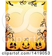 Clipart Of A Halloween Border Of Jackolantern Pumpkins Bats And Curly Bare Tree Branches Over Orange Royalty Free Vector Illustration