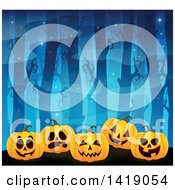 Clipart Of A Row Of Carved Jackolantern Pumpkins In A Spooky Forest Royalty Free Vector Illustration by visekart