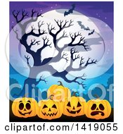 Clipart Of A Row Of Carved Jackolantern Pumpkins By A Spooky Tree Against A Full Moon With Bats Royalty Free Vector Illustration by visekart