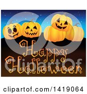Clipart Of A Group Of Jackolanterns Over A Happy Halloween Greeting Royalty Free Vector Illustration