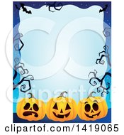 Clipart Of A Halloween Border Of Jackolantern Pumpkins Bats And Curly Bare Tree Branches Over Blue Royalty Free Vector Illustration