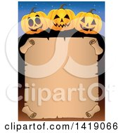 Clipart Of A Halloween Border Of Jackolantern Pumpkins Over A Parchment Scroll Royalty Free Vector Illustration