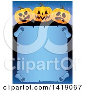 Clipart Of A Halloween Border Of Jackolantern Pumpkins Over A Blue Parchment Scroll Royalty Free Vector Illustration