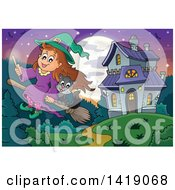 Witch Girl And Cat Flying On A Broomstick Away From A Haunted House