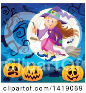 Clipart Of A Happy Witch Girl Flying On A Broomstick Over Halloween Jackolantern Pumpkins Royalty Free Vector Illustration