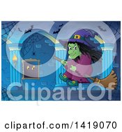 Clipart Of A Witch Flying On A Broomstick In A Hallway Royalty Free Vector Illustration by visekart
